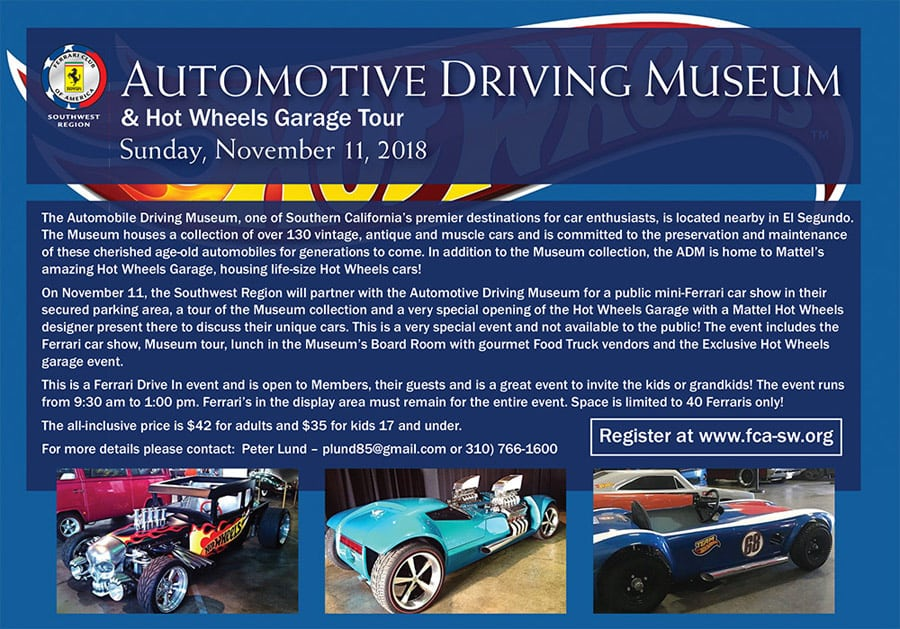 On November 11, The Ferrari Club Of America Southwest Region Will Partner  With The Automobile Driving Museum For A Public Mini Ferrari Car Show In  Their ...