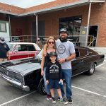 Ron, Katie, 8-year-old son Tex, and their best friends 1966 Charger