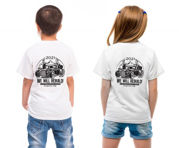 Kids in a white T shirt showed in back side isolated for your design